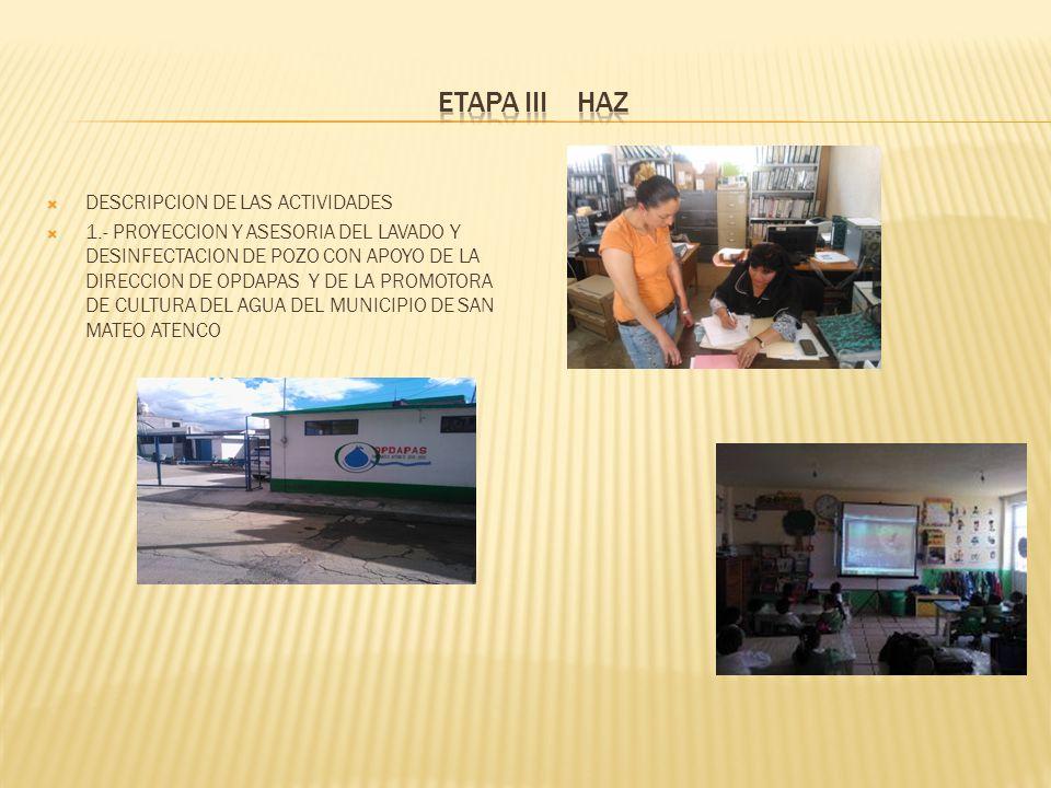 ETAPA III HAZ DESCRIPCION DE LAS ACTIVIDADES