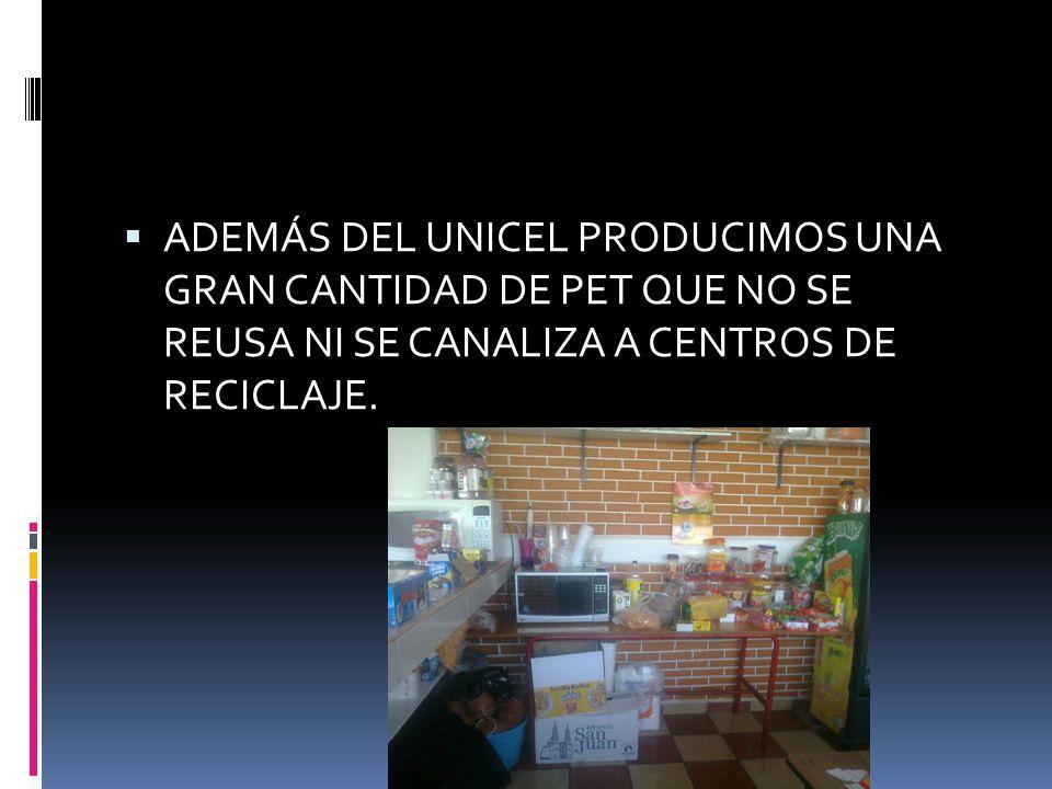 ADEMÁS DEL UNICEL PRODUCIMOS UNA GRAN CANTIDAD DE PET QUE NO SE REUSA NI SE CANALIZA A CENTROS DE RECICLAJE.