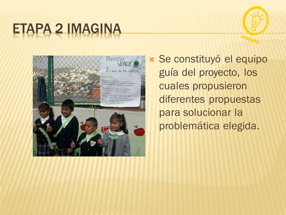 ETAPA 2 IMAGINA Se constituyó el equipo guía del proyecto, los cuales propusieron diferentes propuestas para solucionar la problemática elegida.
