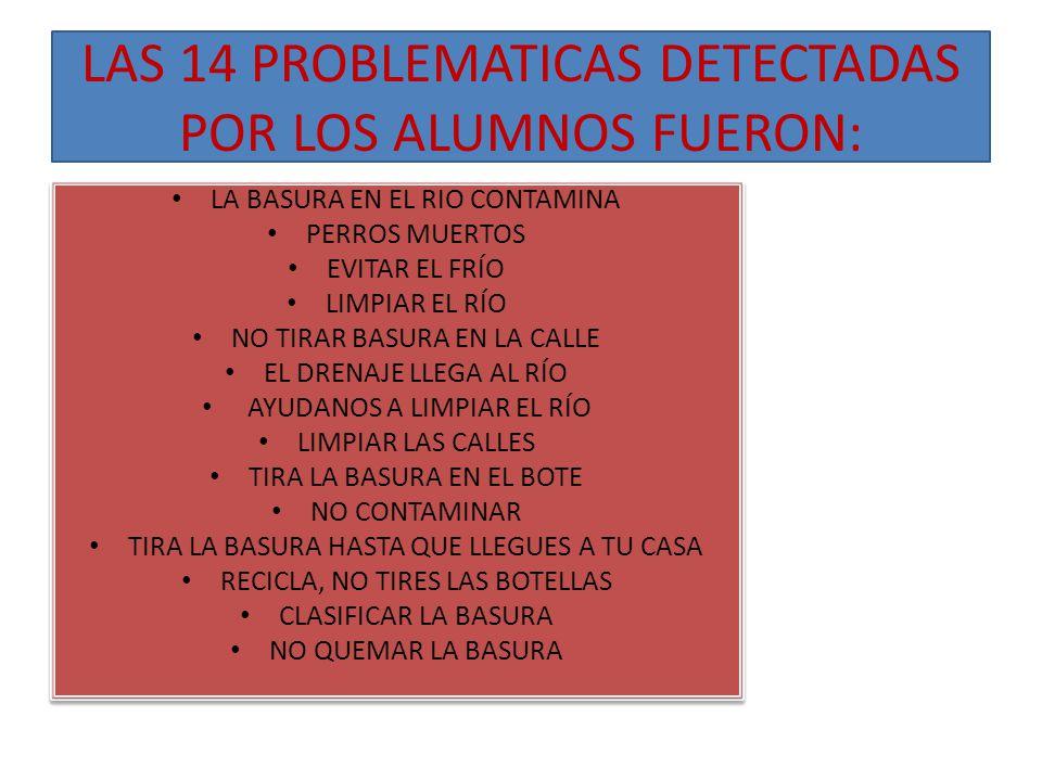 LAS 14 PROBLEMATICAS DETECTADAS POR LOS ALUMNOS FUERON: