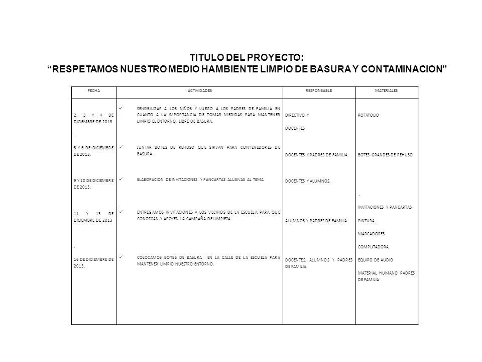 RESPETAMOS NUESTRO MEDIO HAMBIENTE LIMPIO DE BASURA Y CONTAMINACION