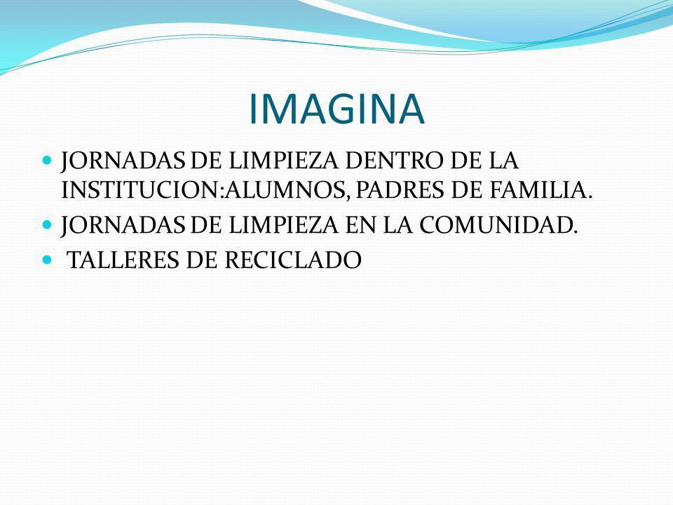 IMAGINA JORNADAS DE LIMPIEZA DENTRO DE LA INSTITUCION:ALUMNOS, PADRES DE FAMILIA. JORNADAS DE LIMPIEZA EN LA COMUNIDAD.