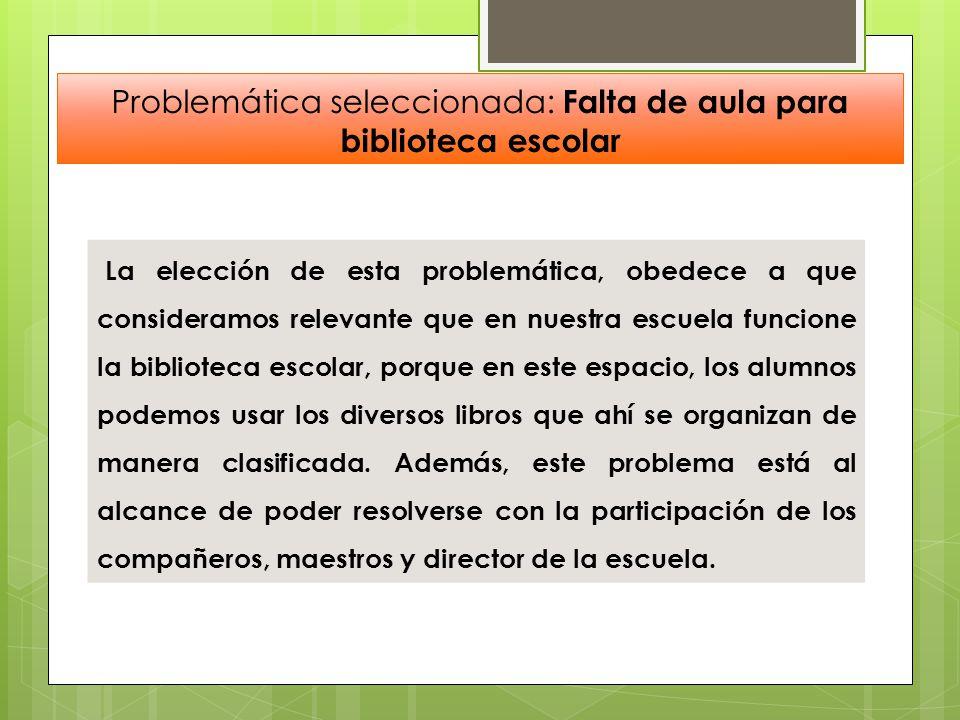 Problemática seleccionada: Falta de aula para biblioteca escolar