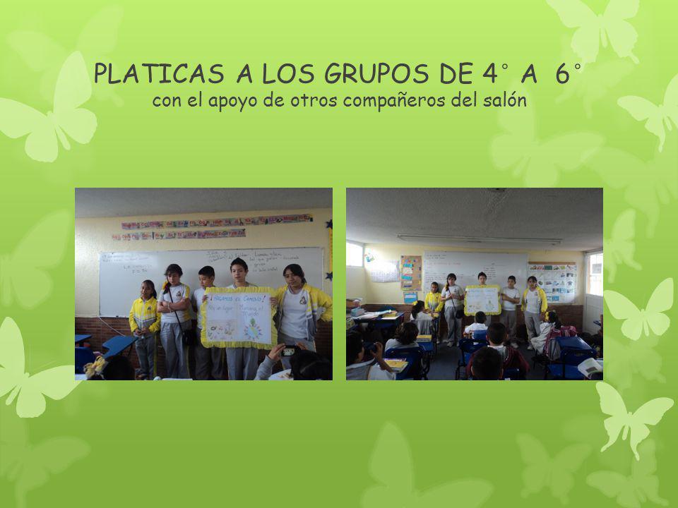 PLATICAS A LOS GRUPOS DE 4° A 6° con el apoyo de otros compañeros del salón