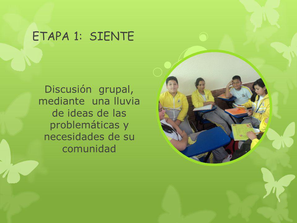 ETAPA 1: SIENTE Discusión grupal, mediante una lluvia de ideas de las problemáticas y necesidades de su comunidad.
