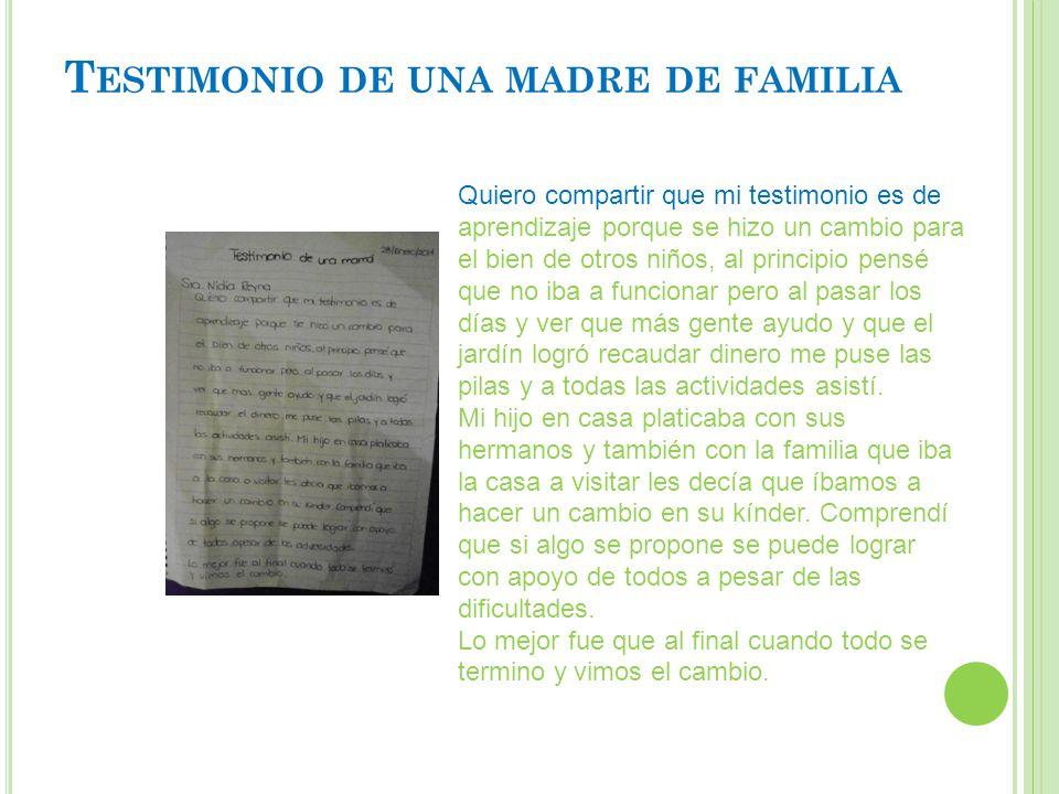 Testimonio de una madre de familia