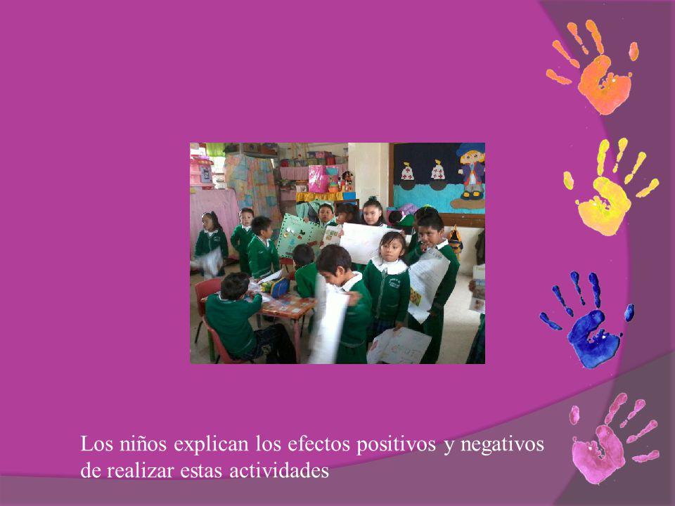 Los niños explican los efectos positivos y negativos de realizar estas actividades