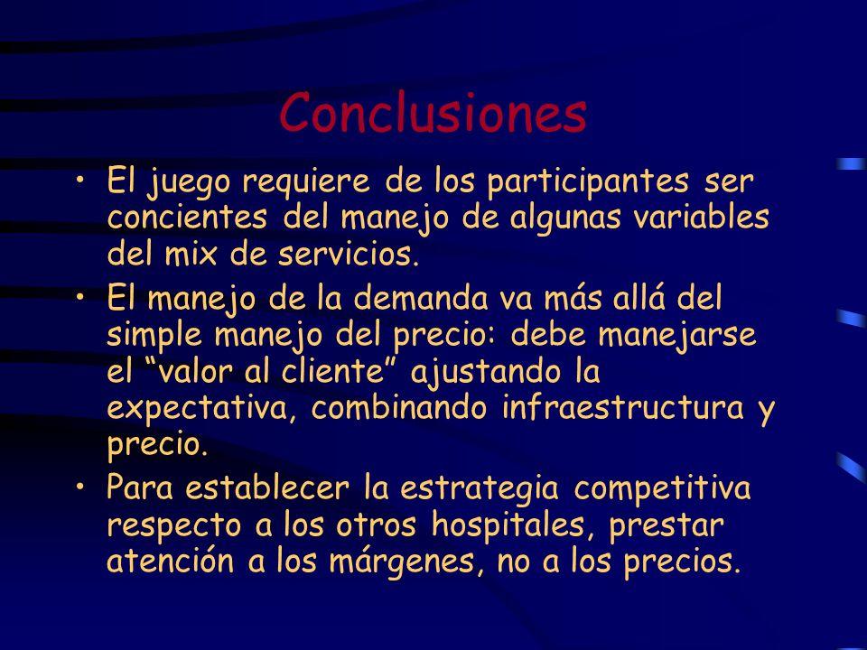 Conclusiones El juego requiere de los participantes ser concientes del manejo de algunas variables del mix de servicios.
