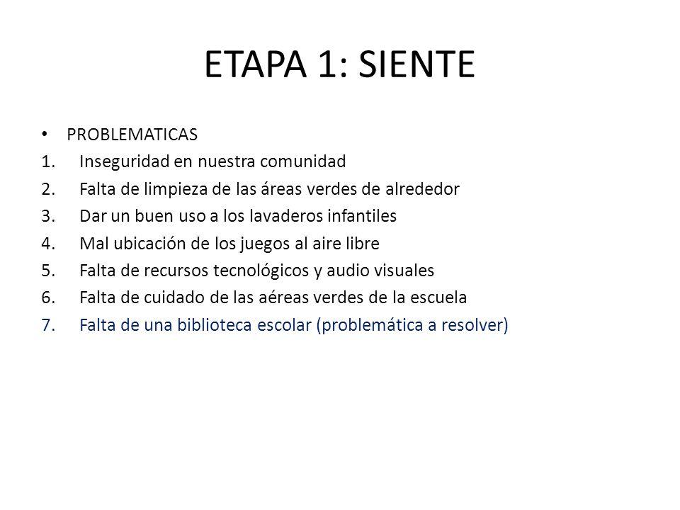 ETAPA 1: SIENTE PROBLEMATICAS Inseguridad en nuestra comunidad