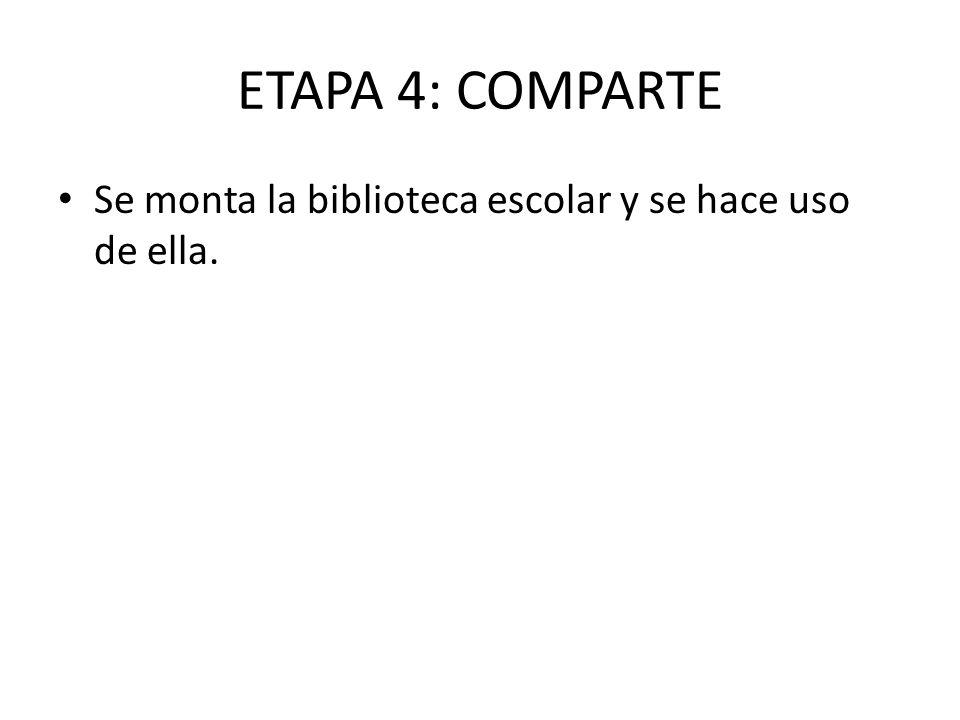 ETAPA 4: COMPARTE Se monta la biblioteca escolar y se hace uso de ella.