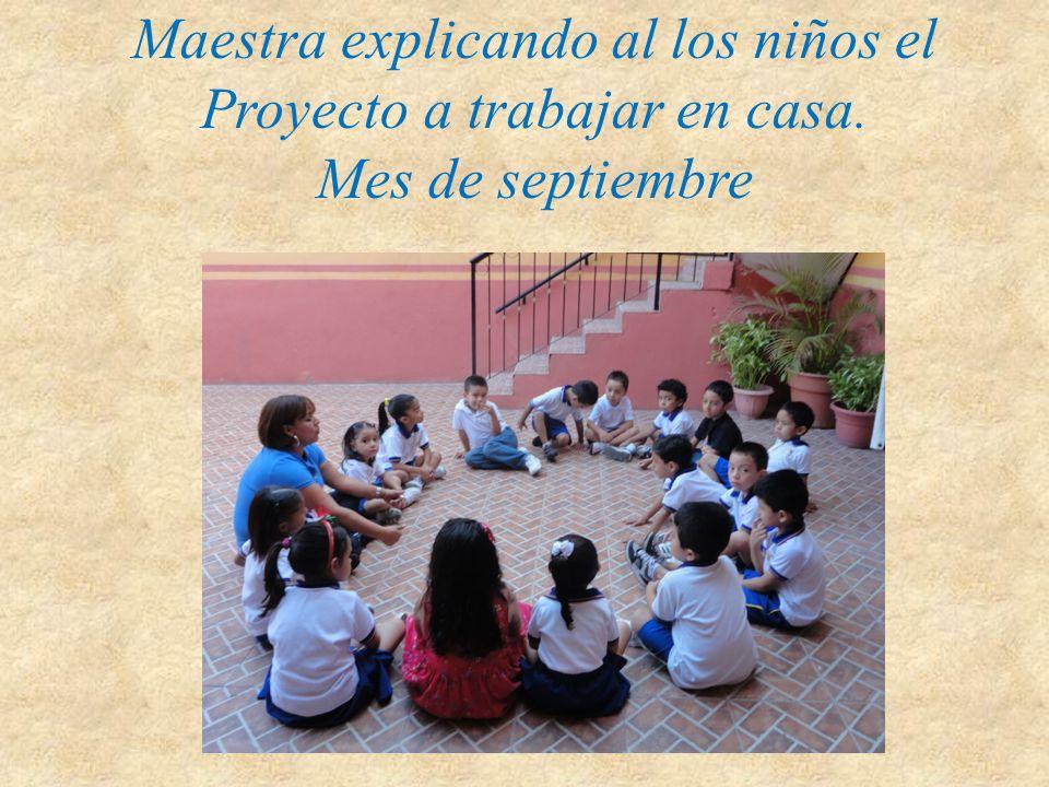 Maestra explicando al los niños el Proyecto a trabajar en casa