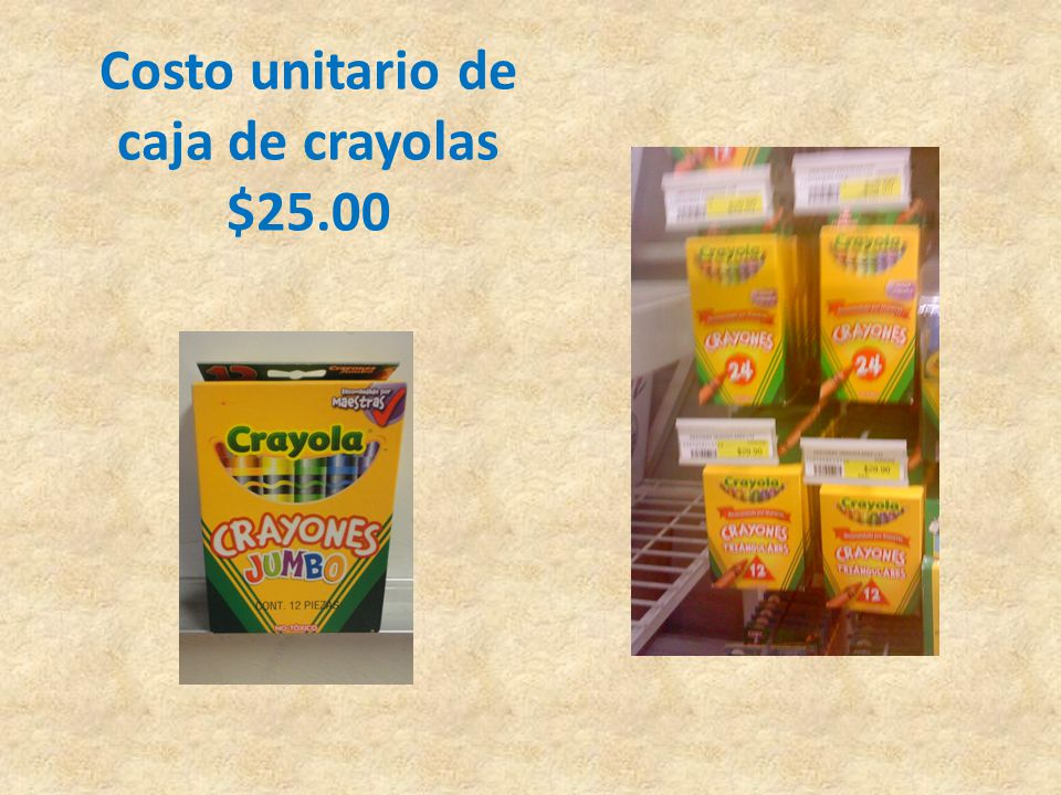 Costo unitario de caja de crayolas $25.00