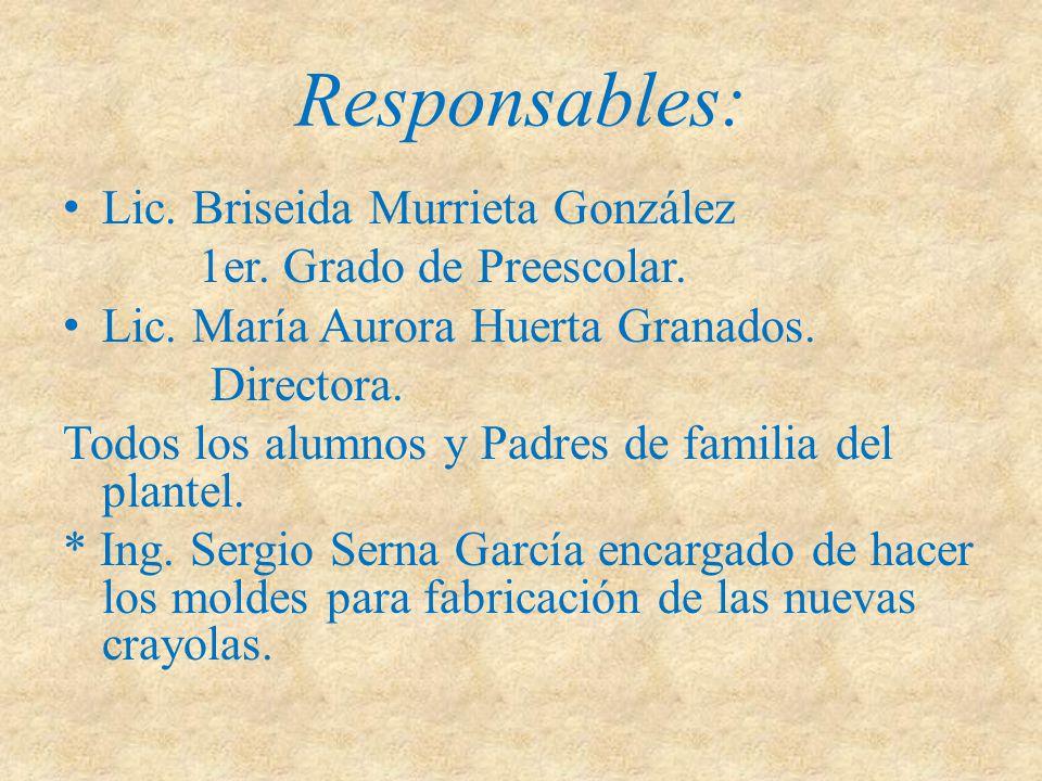 Responsables: Lic. Briseida Murrieta González