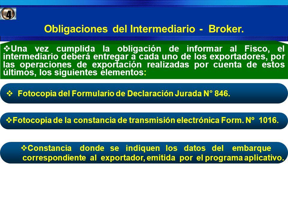 Obligaciones del Intermediario - Broker.