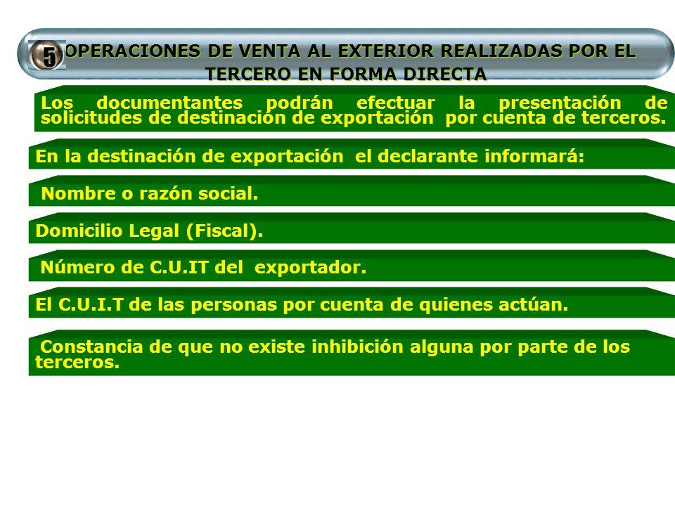 OPERACIONES DE VENTA AL EXTERIOR REALIZADAS POR EL TERCERO EN FORMA DIRECTA