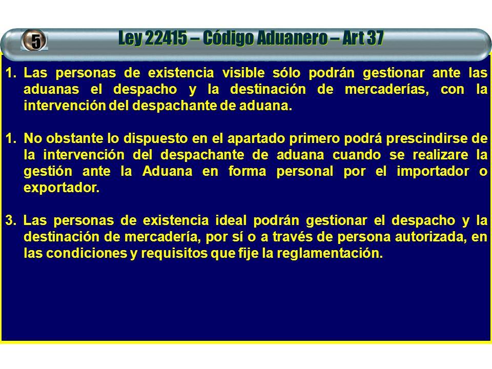 Ley 22415 – Código Aduanero – Art 37