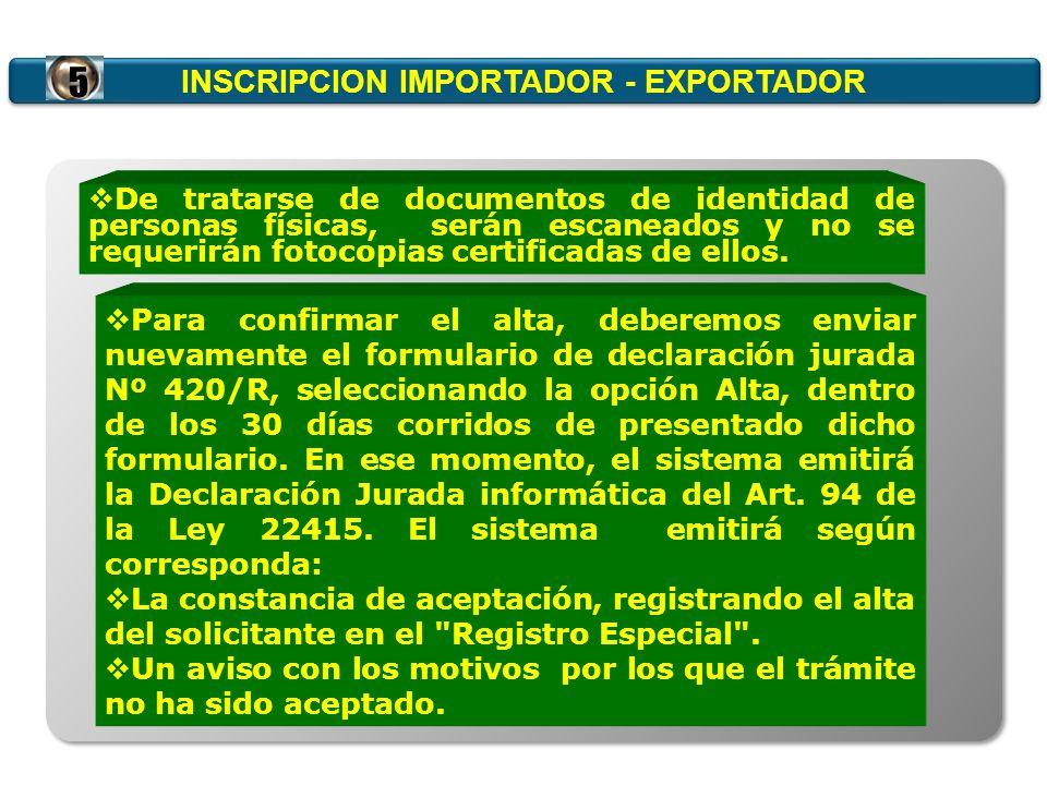 INSCRIPCION IMPORTADOR - EXPORTADOR