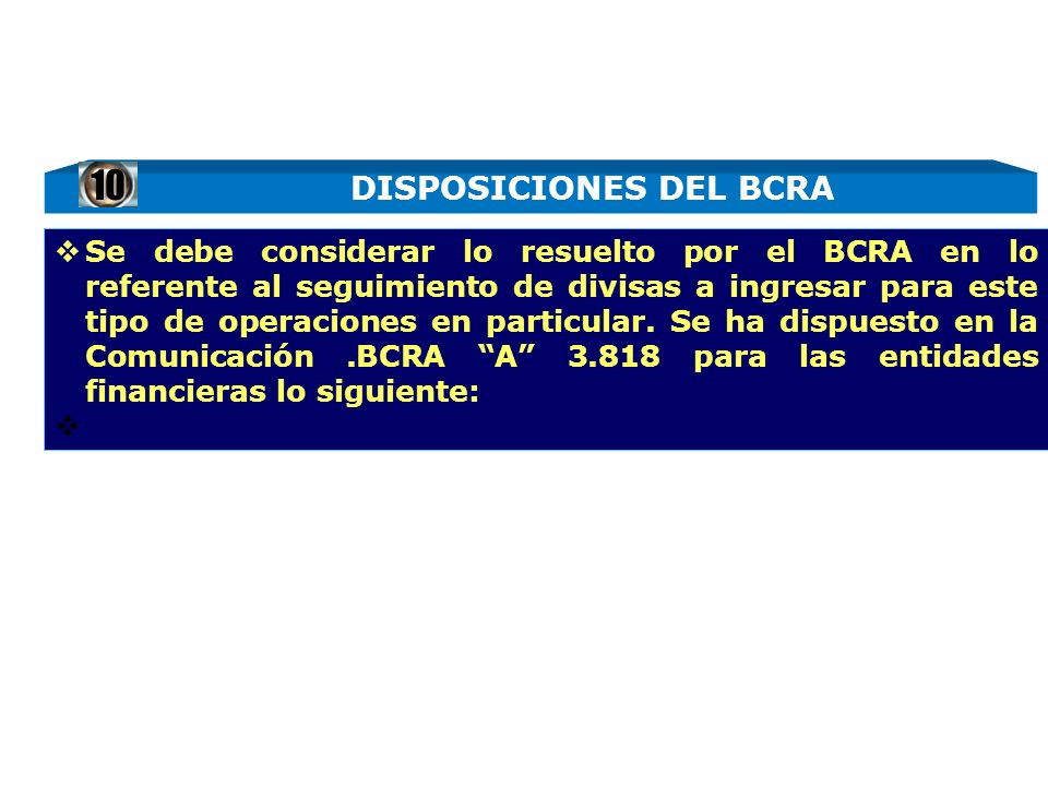 DISPOSICIONES DEL BCRA
