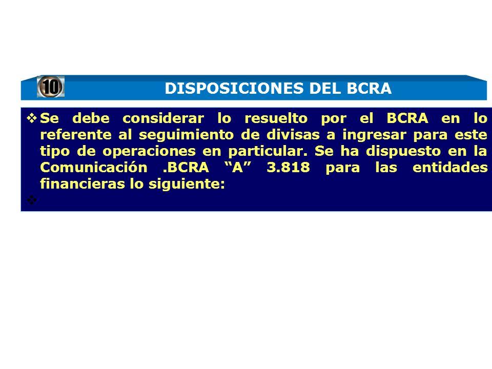 DISPOSICIONES DEL BCRA