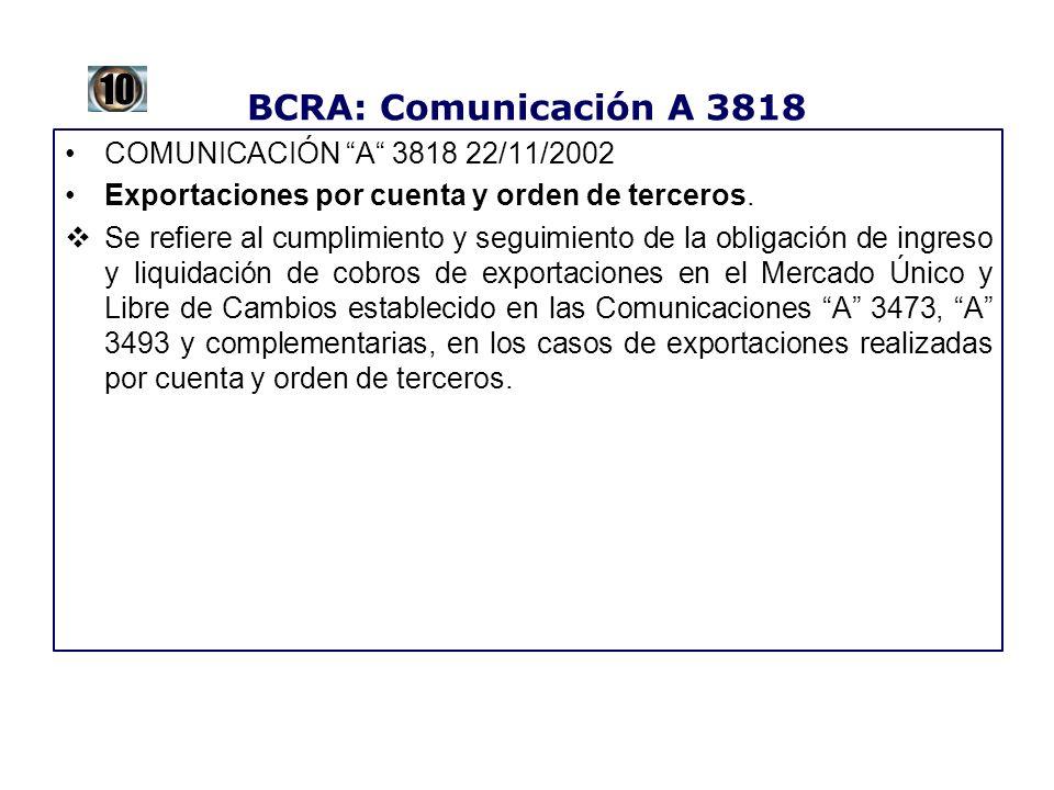 10 BCRA: Comunicación A 3818 COMUNICACIÓN A 3818 22/11/2002