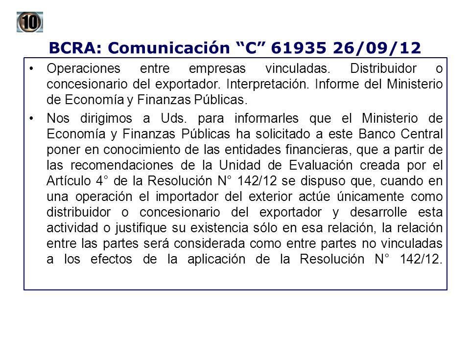 BCRA: Comunicación C 61935 26/09/12