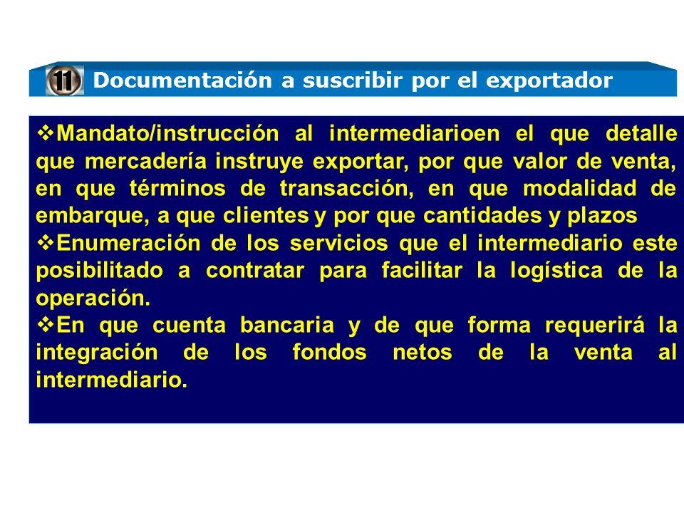 Documentación a suscribir por el exportador