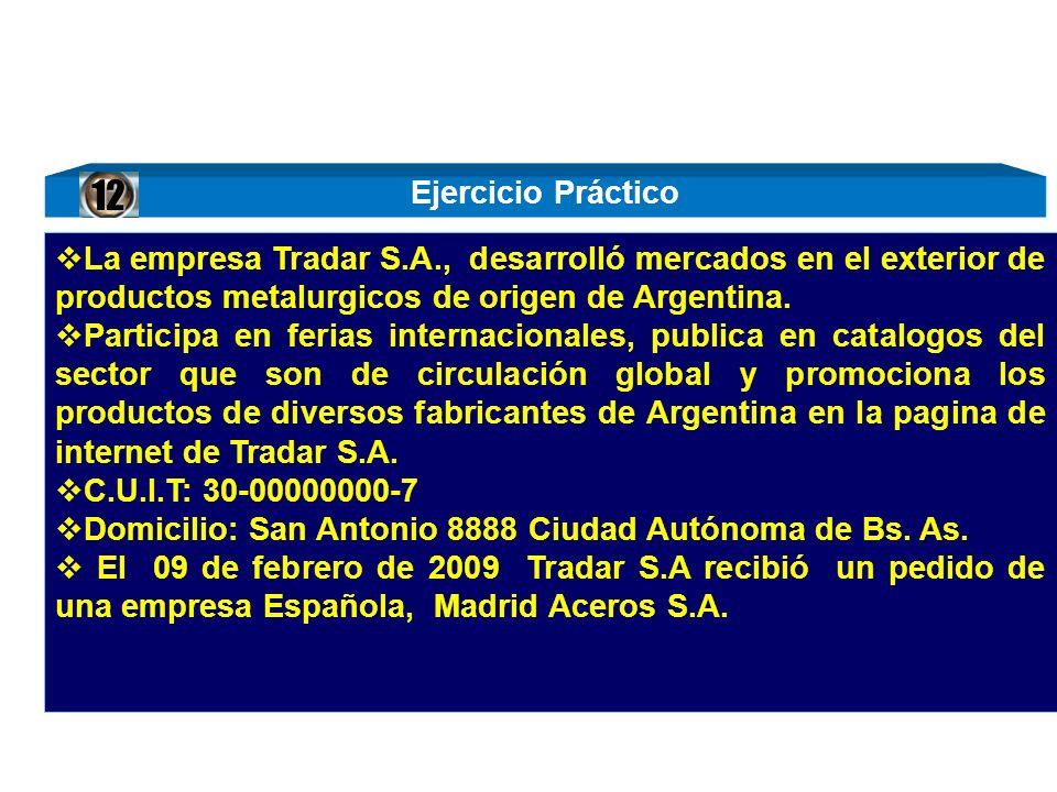 12 La empresa Tradar S.A., desarrolló mercados en el exterior de productos metalurgicos de origen de Argentina.