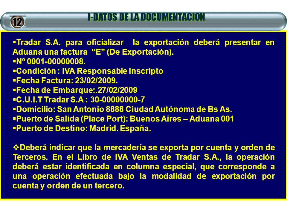 I-DATOS DE LA DOCUMENTACION