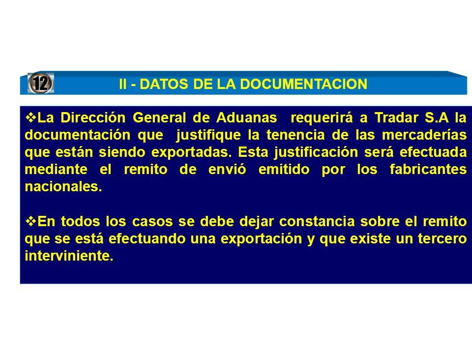 II - DATOS DE LA DOCUMENTACION