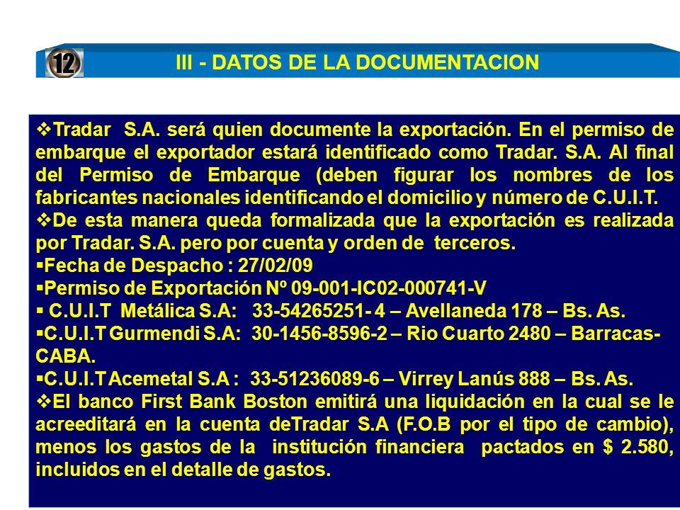 III - DATOS DE LA DOCUMENTACION