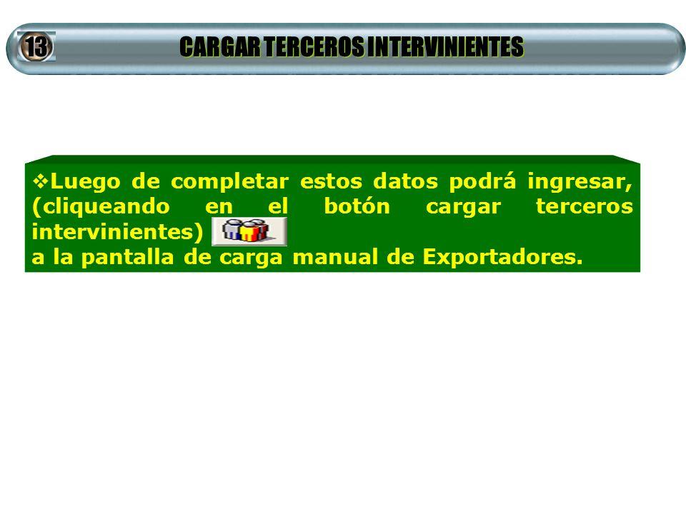 CARGAR TERCEROS INTERVINIENTES