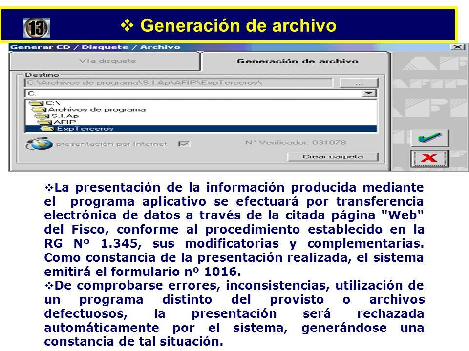 Generación de archivo 13.