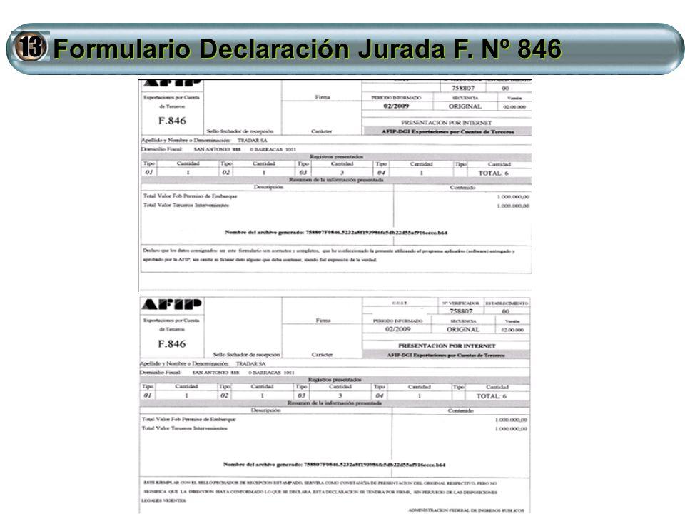 Formulario Declaración Jurada F. Nº 846