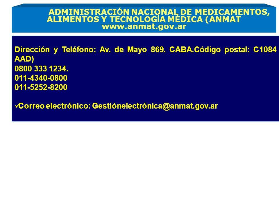 Dirección y Teléfono: Av. de Mayo 869. CABA.Código postal: C1084 AAD)