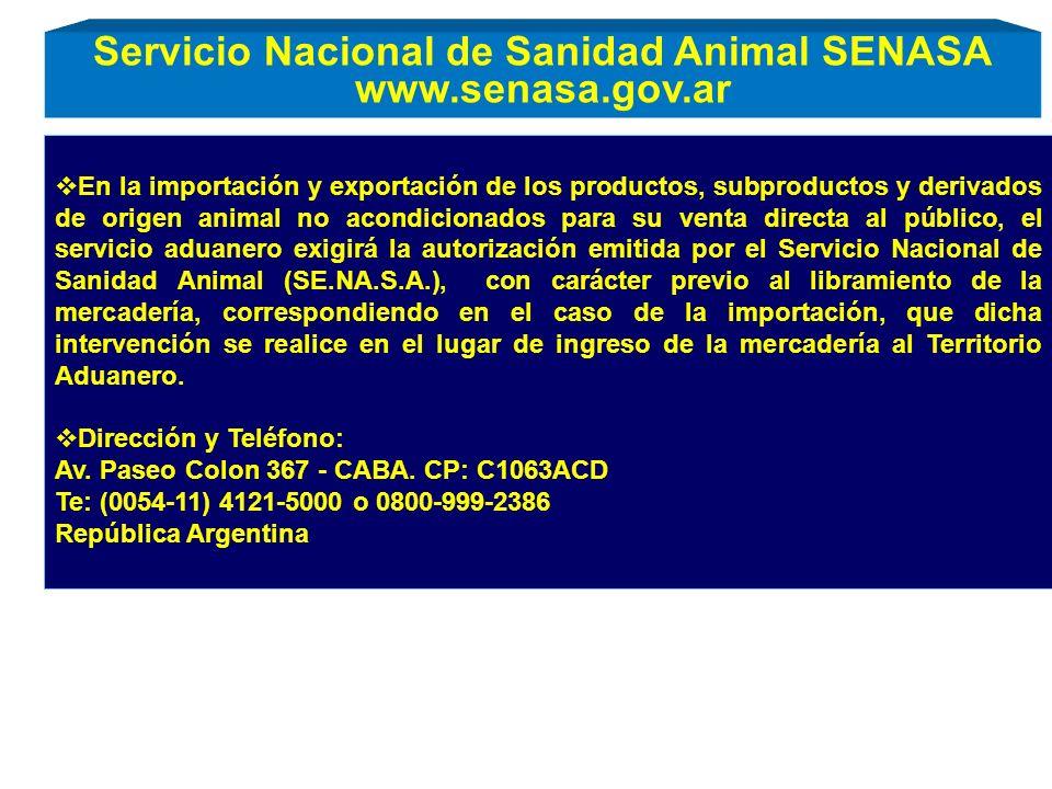 Servicio Nacional de Sanidad Animal SENASA www.senasa.gov.ar