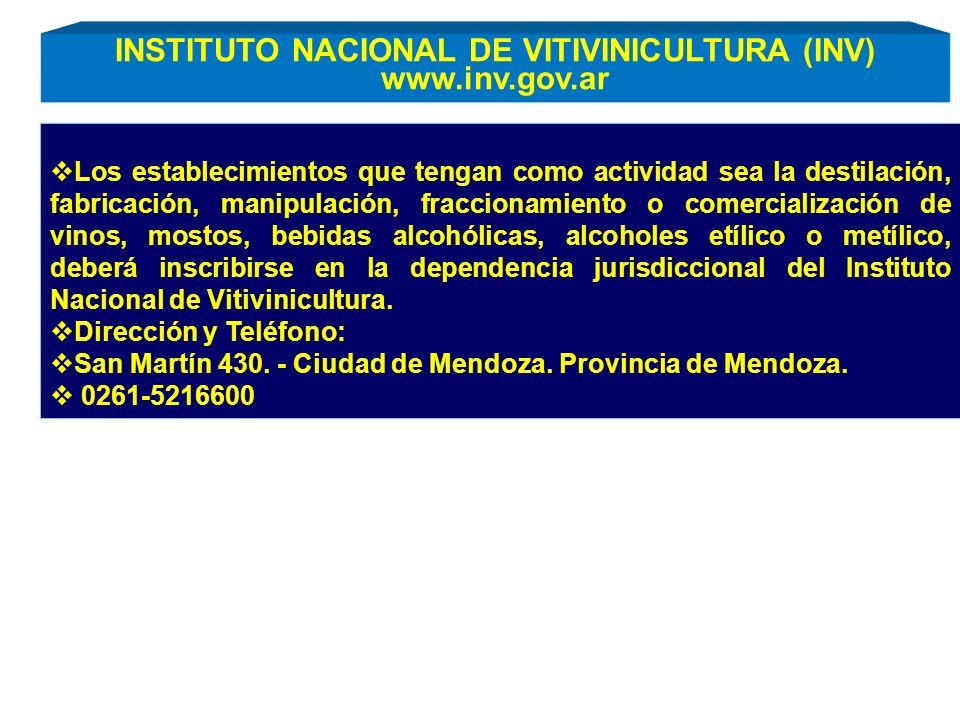 INSTITUTO NACIONAL DE VITIVINICULTURA (INV) www.inv.gov.ar