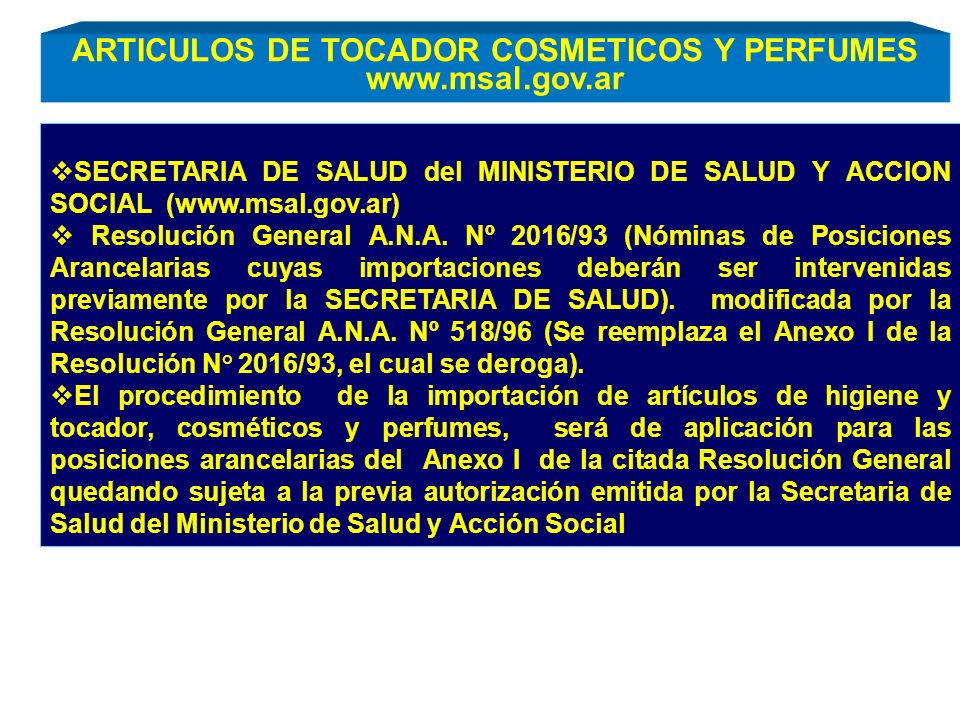 ARTICULOS DE TOCADOR COSMETICOS Y PERFUMES www.msal.gov.ar