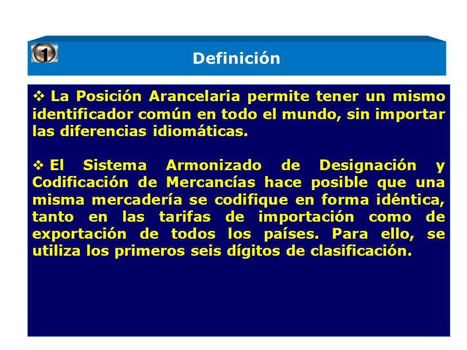 Definición La Posición Arancelaria permite tener un mismo identificador común en todo el mundo, sin importar las diferencias idiomáticas.