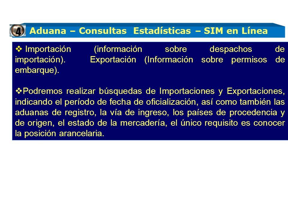 Aduana – Consultas Estadísticas – SIM en Línea