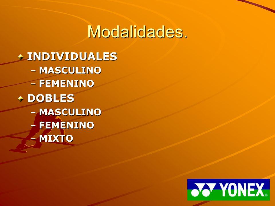 Modalidades. INDIVIDUALES MASCULINO FEMENINO DOBLES MIXTO