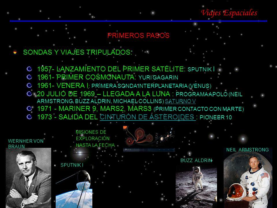Viajes Espaciales PRIMEROS PASOS SONDAS Y VIAJES TRIPULADOS: