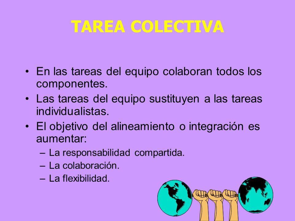 TAREA COLECTIVA En las tareas del equipo colaboran todos los componentes. Las tareas del equipo sustituyen a las tareas individualistas.