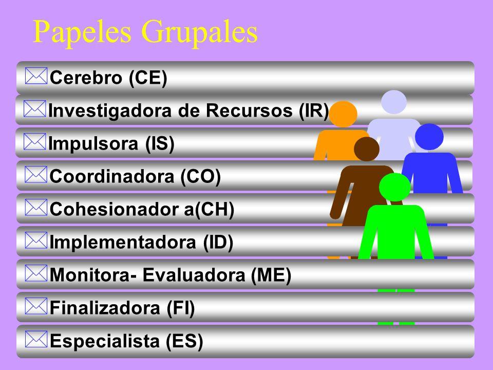 Papeles Grupales Cerebro (CE) Investigadora de Recursos (IR)