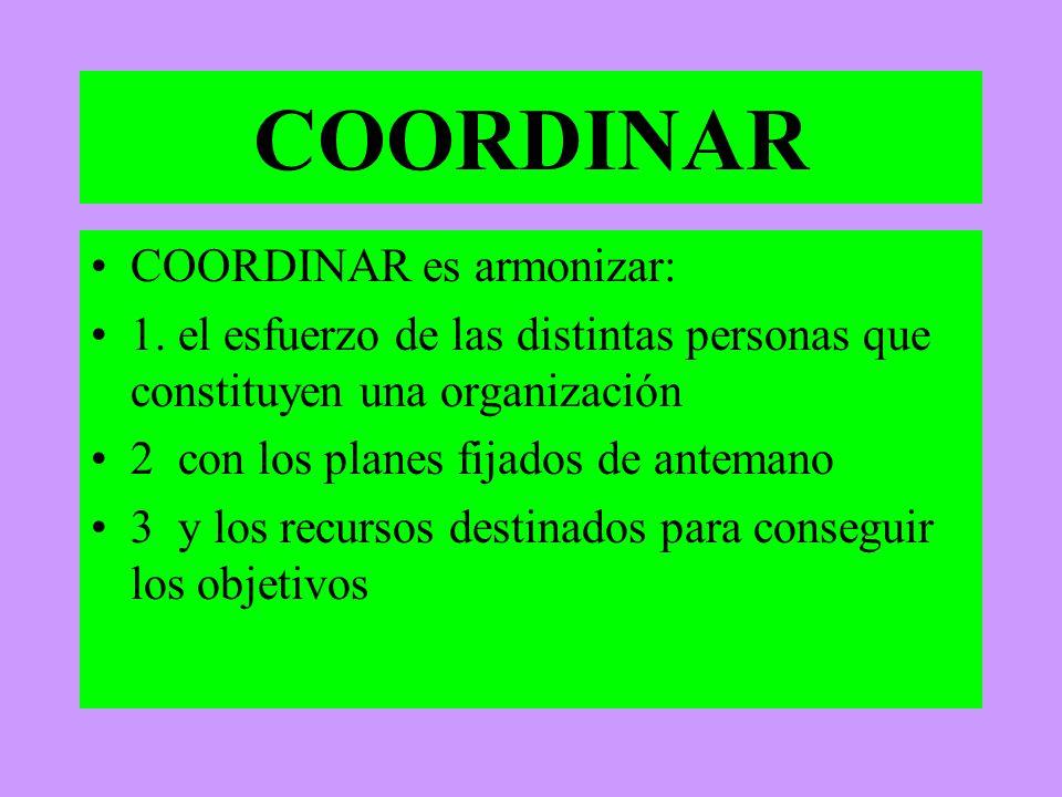 COORDINAR COORDINAR es armonizar: