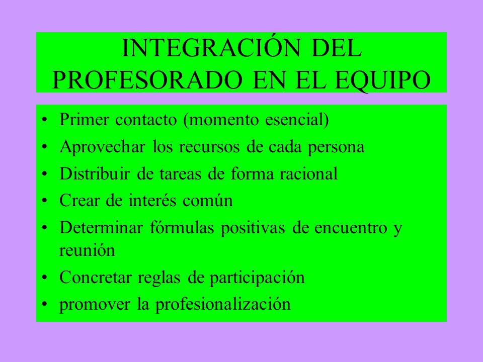 INTEGRACIÓN DEL PROFESORADO EN EL EQUIPO