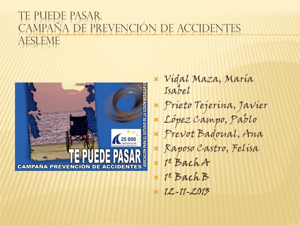 TE PUEDE PASAR. Campaña de prevención de accidentes AESLEME