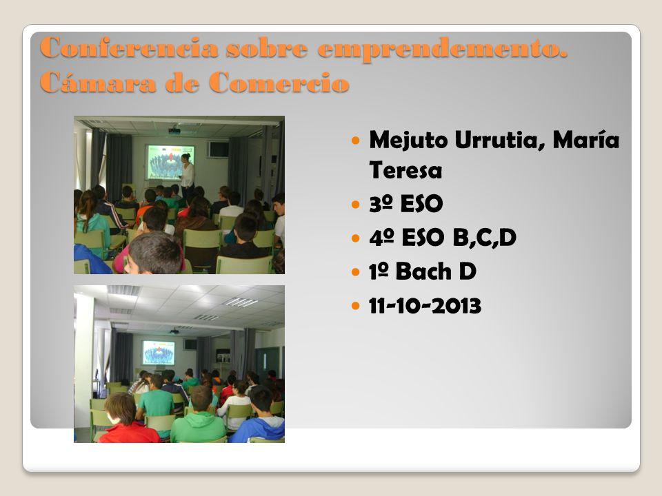 Conferencia sobre emprendemento. Cámara de Comercio