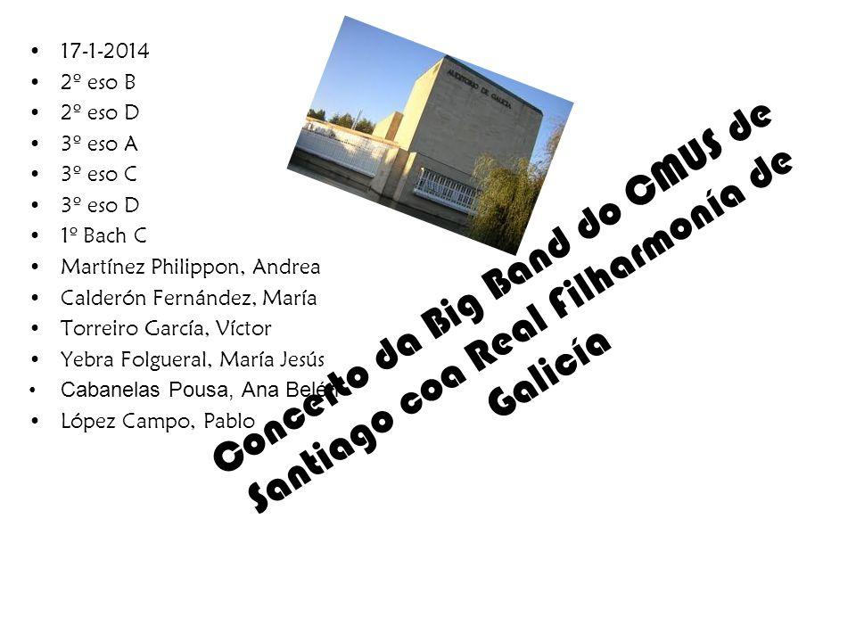 17-1-2014 2º eso B. 2º eso D. 3º eso A. 3º eso C. 3º eso D. 1º Bach C. Martínez Philippon, Andrea.