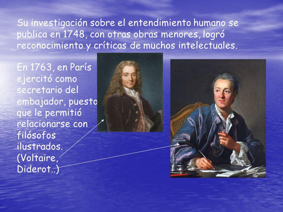 Su investigación sobre el entendimiento humano se publica en 1748, con otras obras menores, logró reconocimiento y críticas de muchos intelectuales.