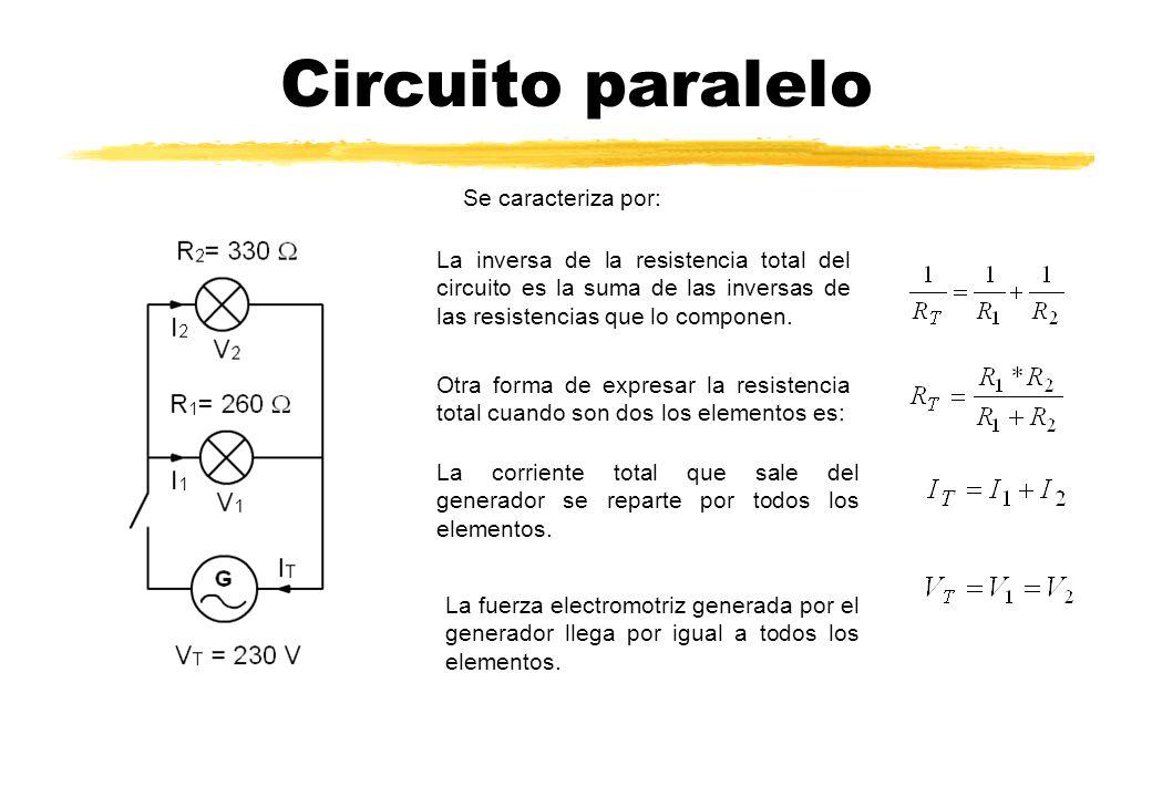 Circuito paralelo Se caracteriza por: